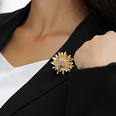baratos Bijuteria de Mulher-Mulheres Broches Dupla Camada Abelha Margarida senhoras Na moda Strass Chapeado Dourado Broche Jóias Dourado Para Rua
