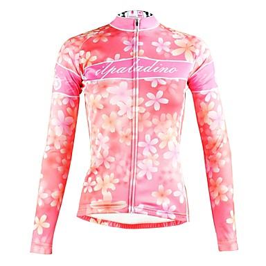 ILPALADINO Žene Dugih rukava Biciklistička majica Pink Cvjetni / Botanički Bicikl Majice Prozračnost Quick dry Ultraviolet Resistant Sportski Zima Elastan Brdski biciklizam biciklom na cesti Odjeća
