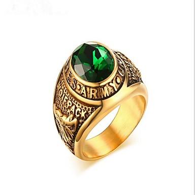 voordelige Herensieraden-Heren Ring Smaragd 1pc Goud Titanium Staal Cirkelvorm Modieus Militair Feest Dagelijks Sieraden Klassiek High School Rings Klasse Cool