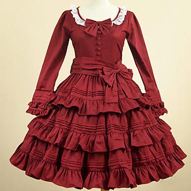 Umjetnička / Retro Sweet Lolita Haljine Djevojčice Ženska Pamuk Japanski Cosplay Kostimi Crvena Jednobojni Vintage Latica Dugih rukava Do koljena