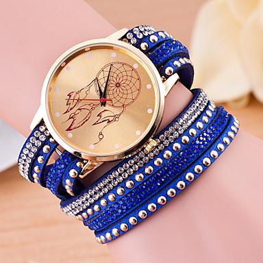 baratos Relógios Senhora-Mulheres Relógio de Pulso Quartzo Couro Legitimo Preta / Branco / Vermelho Novo Design Relógio Casual Analógico senhoras Vintage Casual - Azul marinho Azul Claro Khaki