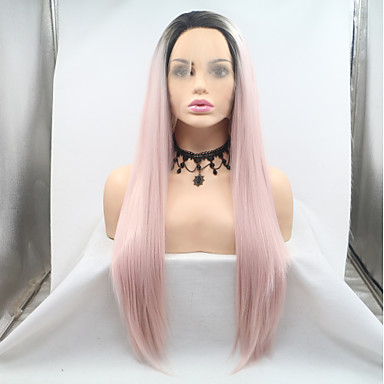 Prednja perika od sintetičkog čipke Ravan kroj Stil Lace Front Perika Pink Black / Pink Sintentička kosa 20-26 inch Žene Žene Crna Pink Perika Dug Sylvia / Da