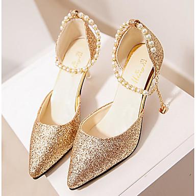 59cf66422e5 Women s PU(Polyurethane) Spring   Summer   Fall   Winter Heels Stiletto Heel  Pointed Toe Sequin Gold   Black   Silver   Wedding   Party   Evening