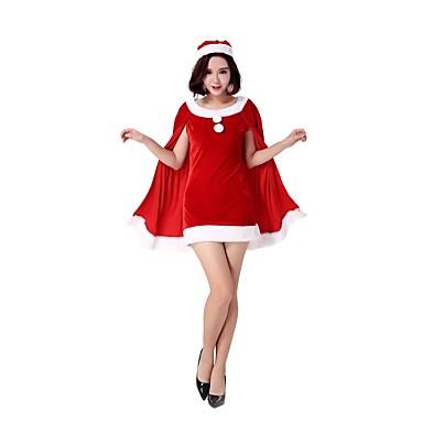 Santa Clothe Odrasli Žene Halloween Božić Božić Halloween Karneval Festival / Praznik Polyster Red Karneval kostime Jednobojni Božić