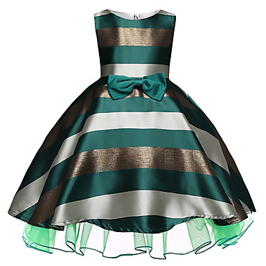 cheap Gilrs' Party Dresses-Kids / Toddler Girls' Active / Sweet Daily / Holiday Striped / Color Block Bow Sleeveless Above Knee Rayon / Polyester Dress Green