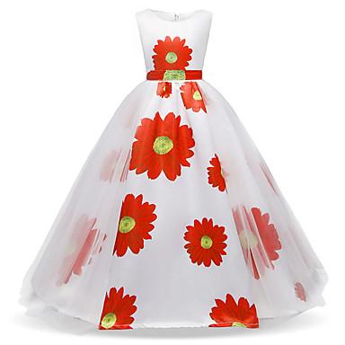 رخيصةأون ملابس الأميرات-فستان ميدي بدون كم دانتيل / مطوي / شبكة ألوان متناوبة مناسب للعطلات رياضي Active / حلو للفتيات أطفال