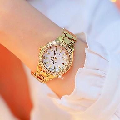 baratos Relógios Senhora-Mulheres Relógio de Pulso Relógio de diamante Relogio Dourado Japanês Quartzo Aço Inoxidável Dourada 30 m Criativo imitação de diamante Analógico senhoras Luxo Fashion Bling Bling - Ouro / Prata