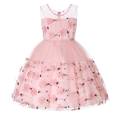 رخيصةأون ملابس الأميرات-فستان بدون كم مطرز / شريطة / شبكة ورد مناسب للعطلات / مناسب للخارج رياضي Active / حلو للفتيات أطفال / قطن / بقع