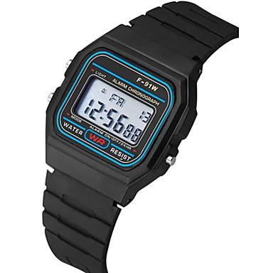 お買い得  メンズ ウォッチ-カップル用 リストウォッチ デジタル シリコーン ブラック カレンダー クロノグラフ付き 夜光計 デジタル バングル ミニマリスト - ブラック 1年間 電池寿命 / SSUO 377