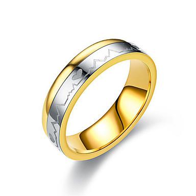 voordelige Dames Sieraden-Voor Stel Ring draaiende ring Groefringen 1pc Goud Titanium Staal Cirkelvormig Dames Eenvoudig Klassiek Bruiloft Lahja Sieraden Klassiek Tweekleurig Hart Vriendschap Hart Schattig