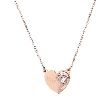 Žene Ogrtači ogrlica Jedna vrpca Srce Jednostavan Titanium Steel Rose Gold 42+7 cm Ogrlice Jewelry 1pc Za Rođendan