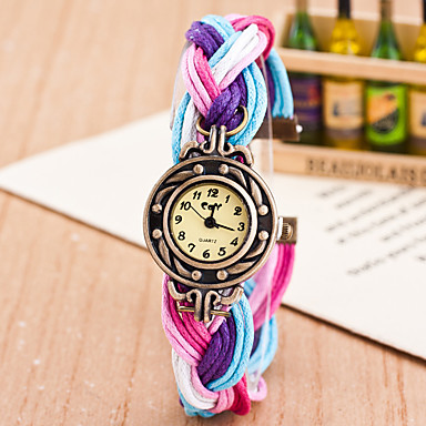 cheap Women's Watches-Women's Wrist Watch Quartz Wrap Pink / Fuchsia / Yellow Casual Watch Lovely Analog Ladies Fashion Colorful - Blue / Black Red Peach Black / White