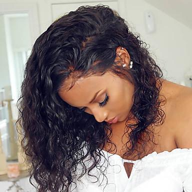 billige Blondeparykker med menneskehår-Remy Menneskehår Blonde Forside Parykk Rihanna stil Brasiliansk hår Krøllet Svart Parykk 150% Hair Tetthet med baby hår Myk Naturlig hårlinje limfrie Blekte knuter Svart Dame Medium Lengde