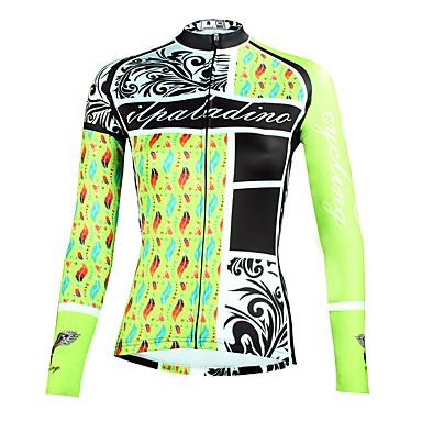 ILPALADINO Žene Dugih rukava Biciklistička majica Mint zelena Cvjetni / Botanički Bicikl Majice Prozračnost Quick dry Ultraviolet Resistant Sportski Zima Elastan Brdski biciklizam biciklom na cesti