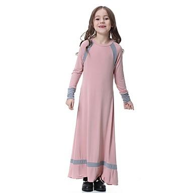 Djeca Djevojčice Vintage Osnovni Dnevno Praznik Jednobojni Kolaž Dugih rukava Maxi Haljina Red