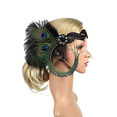 The Great Gatsby Vintage 1920s Lace Up The Great Gatsby Roaring 20s Costume Women's Headpiece Flapper Headband Head Jewelry White / Black / Green Vintage Cosplay Party Prom
