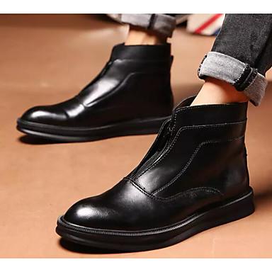 Муж. Комфортная обувь Полиуретан Осень Ботинки Ботинки Черный