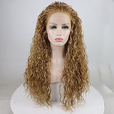 Synteettiset pitsireunan peruukit Kihara Tyyli Vapaa osa Lace Front Peruukki Kulta Vaalea kulta Synteettiset hiukset 18-26 inch Naisten Säädettävä / Pitsi / Heat Resistant Kulta Peruukki Pitkä 180