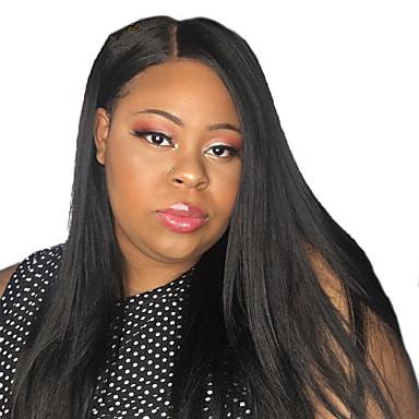 Remy kosa Full Lace Lace Front Perika Asimetrična frizura stil Brazilska kosa Prirodno ravno Silky Straight Natural Crna Perika 130% 150% 180% Gustoća kose Nježno Smooth Žene Najbolja kvaliteta