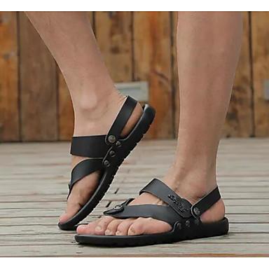 Муж. Комфортная обувь Кожа Лето Сандалии Белый / Черный / Синий