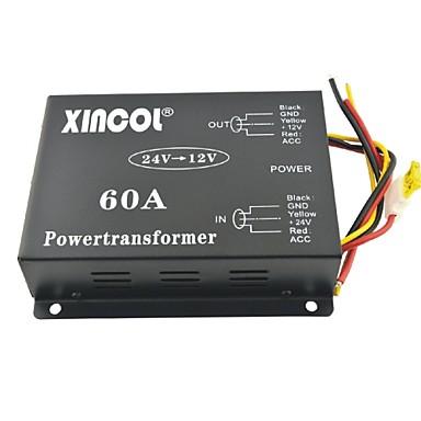 xincol® pojazdu samochodowego DC 24V do 12V 60a Transformator zasilający konwerter z podwójnego wentylatora regulacja-czarny