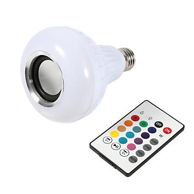 1pc smart e27 rgb bluetooth høyttaler ledet pære lys 12w musikk spiller dimbar trådløs led lampe 24 taster fjernkontroll
