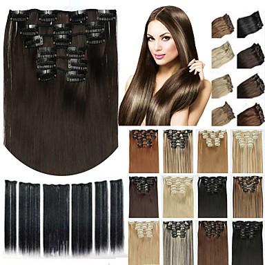 abordables Extensions Synthétiques-Extension à clip Pièce de cheveux Cheveux Synthétiques Pièce de cheveux Extension des cheveux Droit Long Quotidien / Doré / Blond / Nature Noir