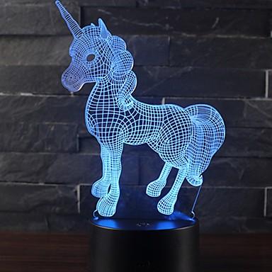 lijepa jednorog romantični dar 3d led stol svjetiljka 7 boja promjena noćna svjetlost soba dekor luster odmor djevojka djeca igračke