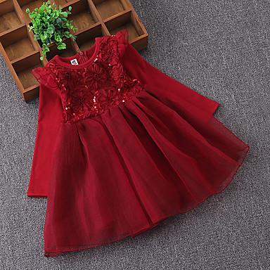 Χαμηλού Κόστους Φορέματα για κορίτσια-Παιδιά Κοριτσίστικα Βασικό Καθημερινά Αργίες Μονόχρωμο Πούλιες Δίχτυ Μακρυμάνικο Πάνω από το Γόνατο Βαμβάκι Πολυεστέρας Φόρεμα Κρασί
