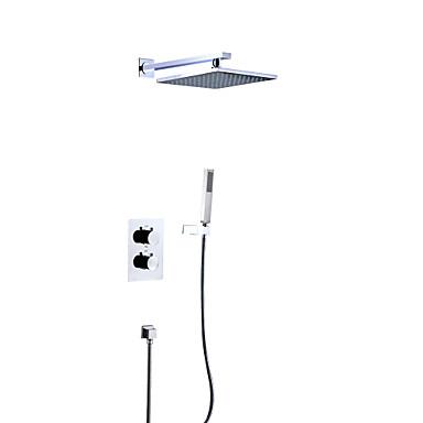 Grifo de ducha - Moderno Cromo Colocado en la Pared Válvula Latón Bath Shower Mixer Taps / Dos manijas de Cuatro Agujeros