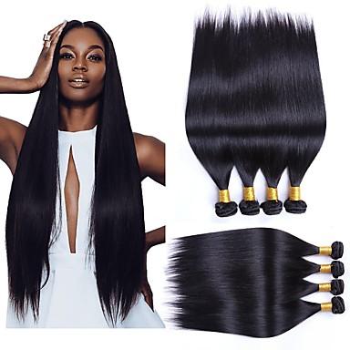4 paketića Brazilska kosa Ravan kroj Ljudska kosa Wig Accessories Ljudske kose plete Styling kose 8-28 inch Prirodna boja Isprepliće ljudske kose Nježno Svilenkast Smooth Proširenja ljudske kose
