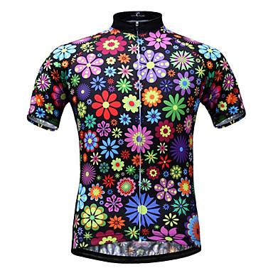 JESOCYCLING Per donna Manica corta Maglia da ciclismo - Arcobaleno Floral / botanico Con stampa Taglie forti Bicicletta Maglietta / Maglia Top, Traspirante Asciugatura rapida Resistente ai raggi UV