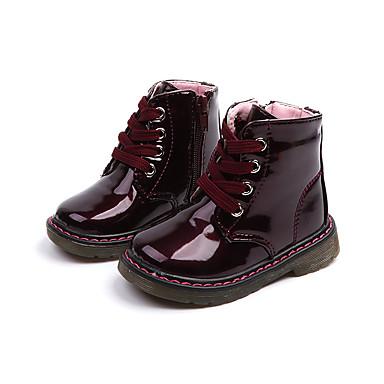 9d1179e0a8078 Fille Chaussures Faux Cuir Printemps   Automne boîtes de Combat Bottes  Fermeture pour Enfants Blanc   Rose   Vin   Bottine   Demi Botte