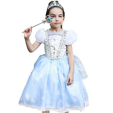 Princeza Cinderella Cosplay Nošnje Dječji Djevojčice Aktivan Halloween Božić Halloween Karneval Festival / Praznik Svila Organza LightBlue Karneval kostime Čipka