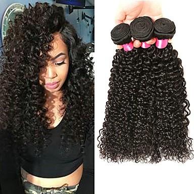halpa Aitohiusperuukit-3 pakettia Perulainen Kihara Kinky Curly Käsittelemätön aitoa hiusta 100% Remy Hair Weave -paketit Headpiece Hiukset kutoo Hiustenhoito 8-28 inch Luonnollinen väri Hiukset kutoo Silkkinen Paras laatu