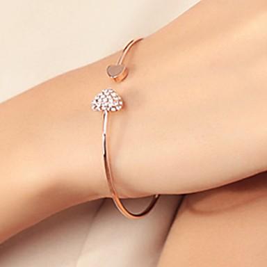 abordables Bracelet-Manchettes Bracelets Femme Classique Zircon Strass Cœur Romantique Mode Elégant Bracelet Bijoux Dorée Argent Gouttes pour Quotidien Anniversaire