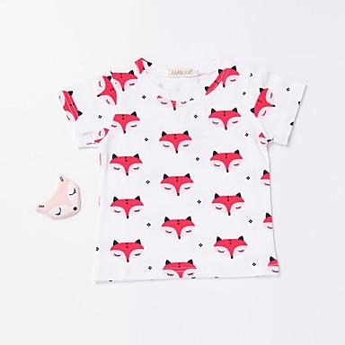 baratos Camisas para Meninos-Bébé Para Meninos Activo Básico Diário Esportes Estampado Estampado Manga Curta Algodão Camiseta Branco