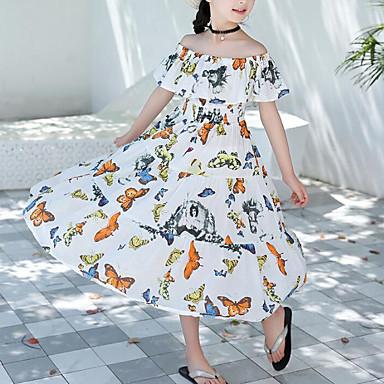 baratos Vestidos para Meninas-Infantil Para Meninas Doce Boho Diário Praia Desenho Animado Frufru Estampado Sem Manga Vestido Branco / Algodão