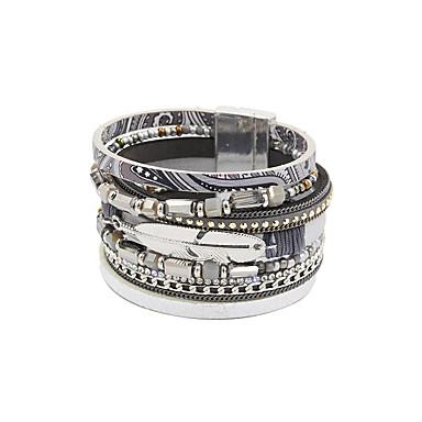 abordables Bracelet-Bracelets en cuir Femme Fantaisie Cuir Mode British Bracelet Bijoux Gris Bleu Rose pour Cadeau Quotidien