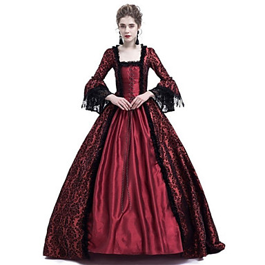 Queen Cosplay Duchess Vintage Inspired Medieval Ball Gown Costume Women's Dress Costume Purple / Red / Ink Blue Vintage Cosplay Party Prom Long Sleeve Lace Sleeves Maxi