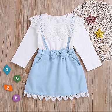 رخيصةأون ملابس الفتيات-فستان كم طويل دانتيل لون سادة حلو للفتيات أطفال