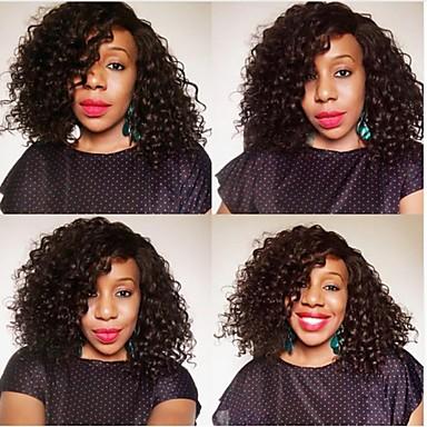 Remy kosa Full Lace Lace Front Perika Asimetrična frizura stil Brazilska kosa Afro Kinky Natural Perika 130% 150% 180% Gustoća kose Modni dizajn Nježno Rasprodaja Cool Lijep Žene Dug Perike s