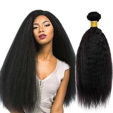 baratos Extensões de Cabelo Natural-3 pacotes Cabelo Peruviano Kinky Liso Cabelo Humano Acessórios Para Peruca Cabelo Humano Ondulado Cabelo Bundle 8-28 polegada Côr Natural Tramas de cabelo humano Sedoso Suave Natural Extensões de