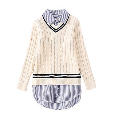 baratos Suéteres & Cardigans para Meninas-Infantil Para Meninas Moda de Rua Diário Listrado Manga Longa Padrão Suéter & Cardigan Rosa