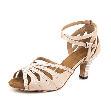 Žene Plesne cipele Saten Cipele za latino plesove Kristalni detalji / Blistati Sandale / Tenisice Tanka visoka peta Moguće personalizirati Nude / Seksi blagdanski kostimi / Koža