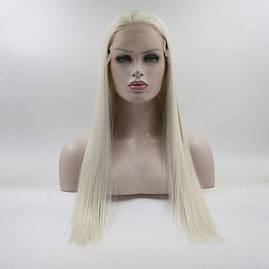 Synthetische Lace Front Perücken Glatt Stil Freier Teil Spitzenfront Perücke Weiß Cremig-weiß Synthetische Haare 18-26 Zoll Damen Verstellbar / Spitze / Hitze Resistent Weiß Perücke Lang 180% Human