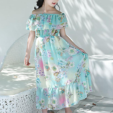 お買い得  女児 ドレス-子供 女の子 甘い ボヘミアン 日常 ビーチ フラワー ラッフル プリント ノースリーブ ポリエステル ドレス ブルー