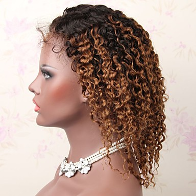 3f4c7438d Virgin Human Hair Remy Human Hair Full Lace Wig Layered Haircut Middle Part  Side Part style Brazilian Hair Deep Curly Wig 130% Density Natural Color ...