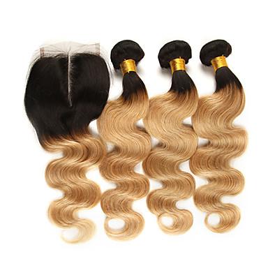 baratos Extensões de Cabelo Natural-3 pacotes com fechamento Cabelo Brasileiro Onda de Corpo Cabelo Natural Remy Extensões de Cabelo Natural Trama do cabelo com Encerramento 10-24 polegada Tramas de cabelo humano Macio Melhor qualidade