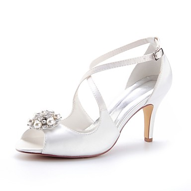 25e4dce291 Women's Satin Spring & Summer Wedding Shoes Stiletto Heel Peep Toe Crystal  / Pearl Ivory / Party & Evening